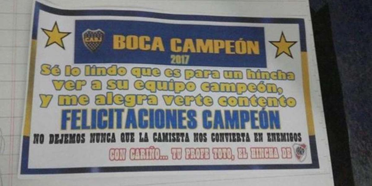 ¡Ejemplar! Profesor aficionado de River felicita a sus alumnos seguidores de Boca