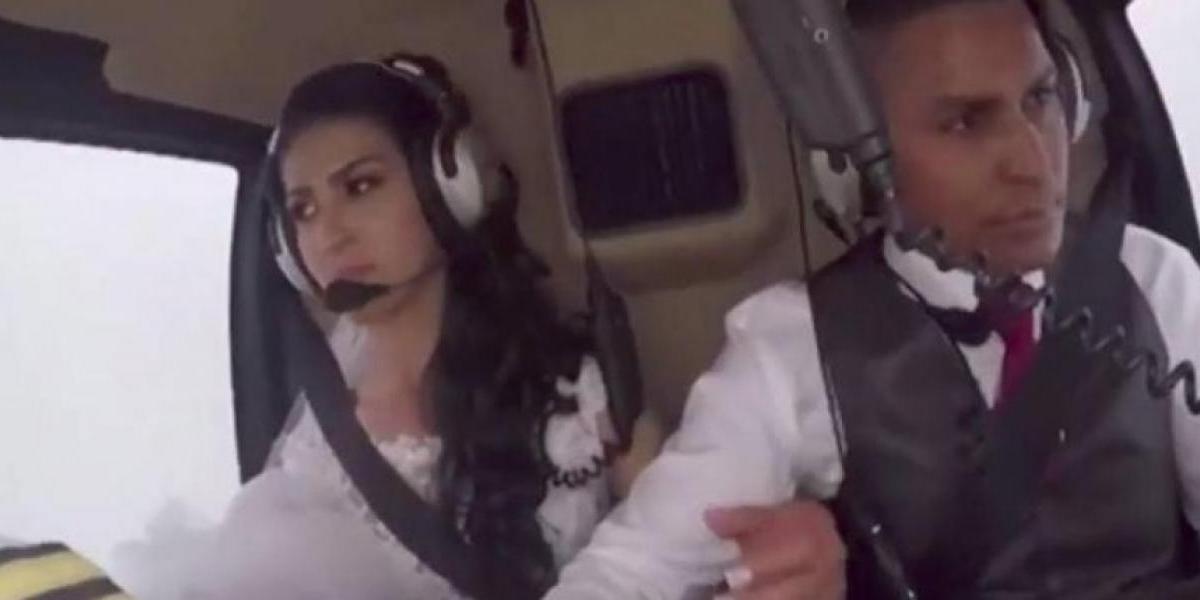 Momento exacto en que muere una novia que iba a su boda en helicóptero