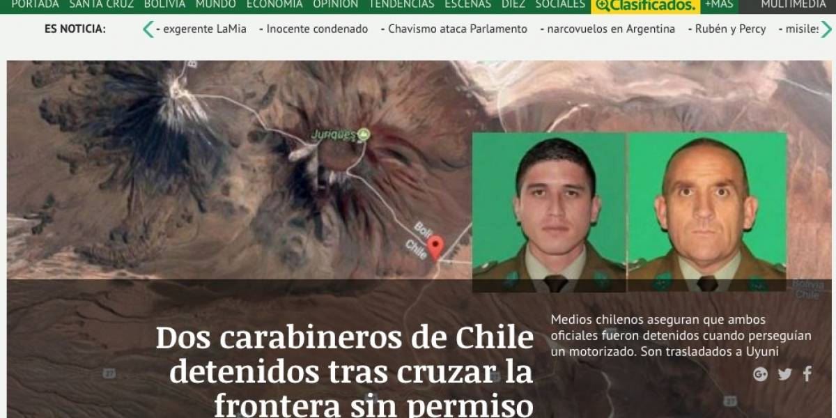 """""""Cruzaron la frontera sin permiso"""": Así informan la detención de dos carabineros los medios bolivianos"""
