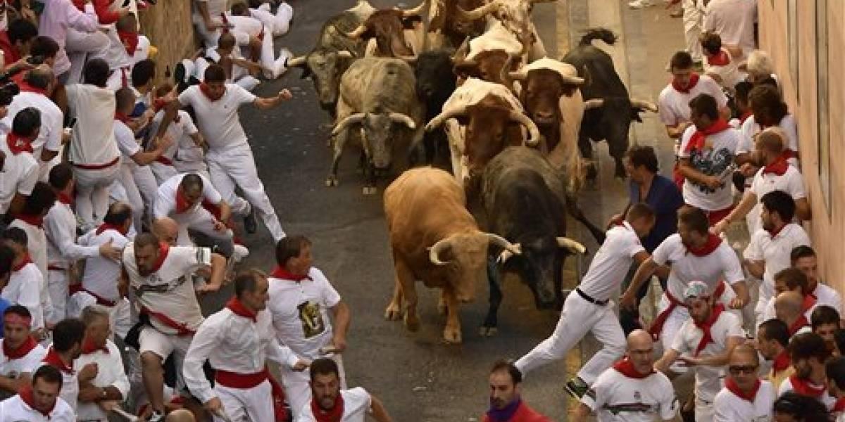 Tres corneados en el primer encierro de toros de San Fermín