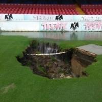 Estadio de Veracruz se hunde debido a las fuertes lluvias