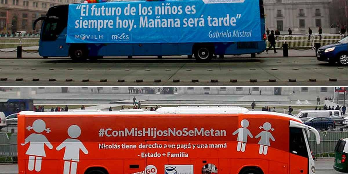 """""""Bus de la libertad"""" versus """"bus de la diversidad"""": así fue el esperado cara a cara en Santiago"""