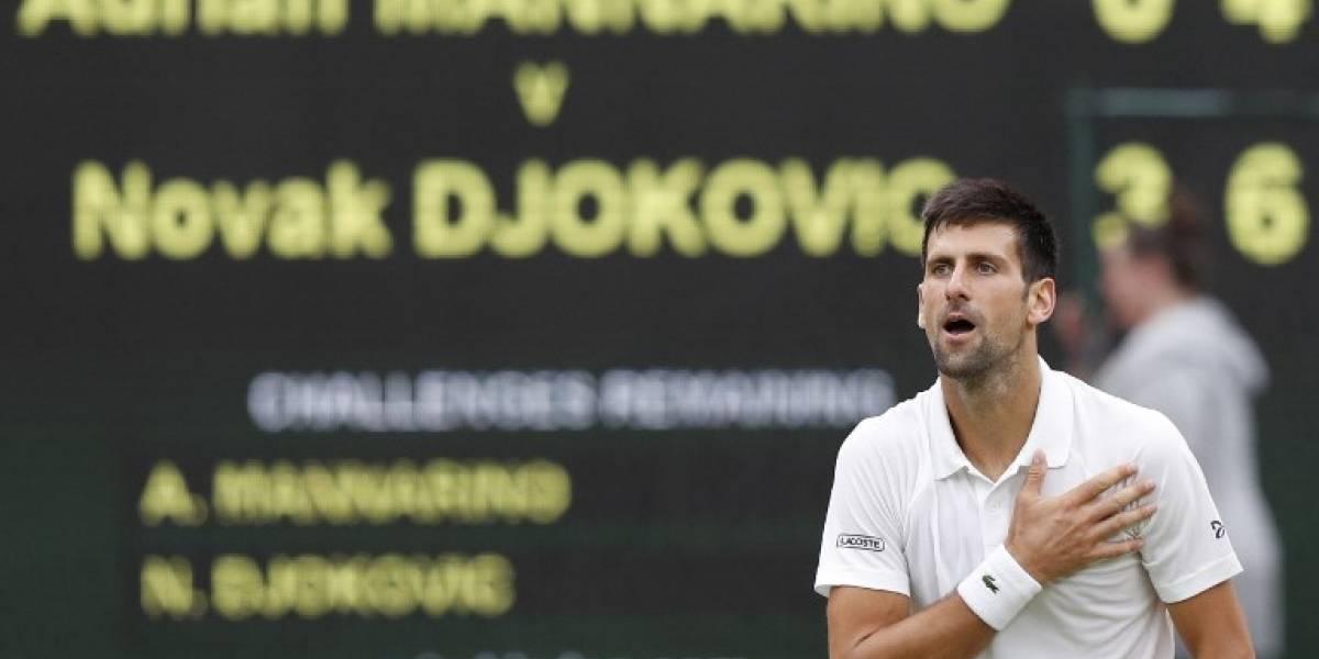 Novak Djokovic venció y completó el cuadro masculino de cuartos de final en Wimbledon