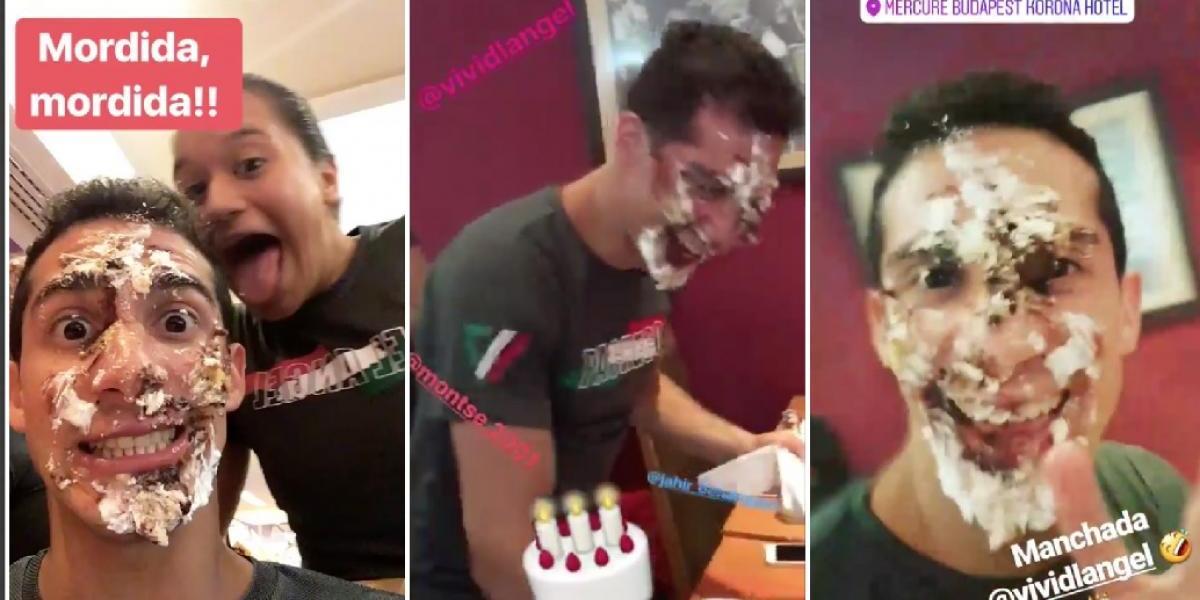 VIDEO: Clavadistas celebran a Rommel Pacheco con 'manchado' pastelazo
