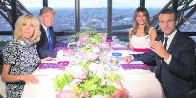Macron recibe con lujos y altos festejos a Trump en Francia