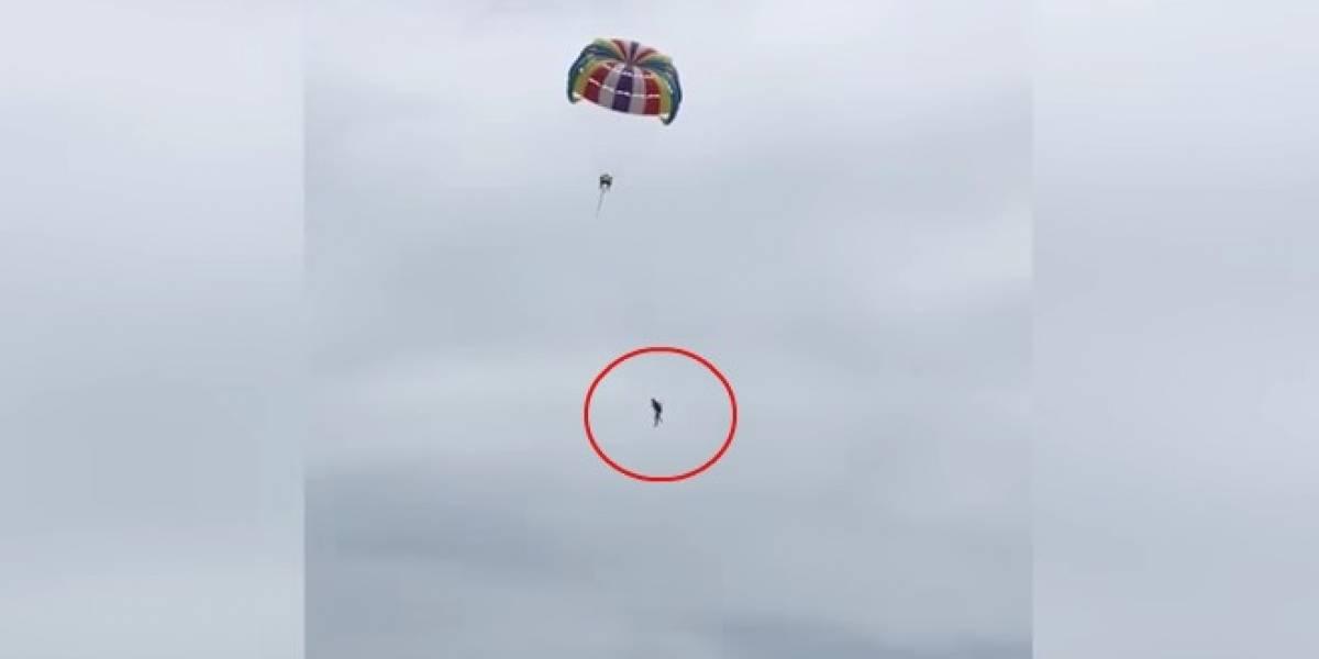 VIDEO: Hombre muere tras caer de paracaídas