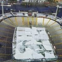 Cancha del Monumental cubierta por la nieve / Agencia Uno