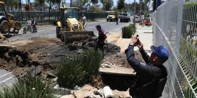 Reabren tramo de Eduardo Molina tras reparar socavón