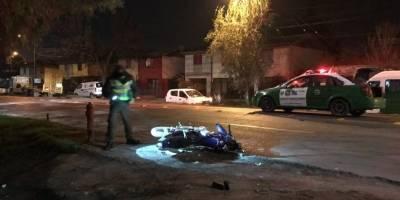 Dos personas que viajaban en moto murieron en accidente en Conchalí