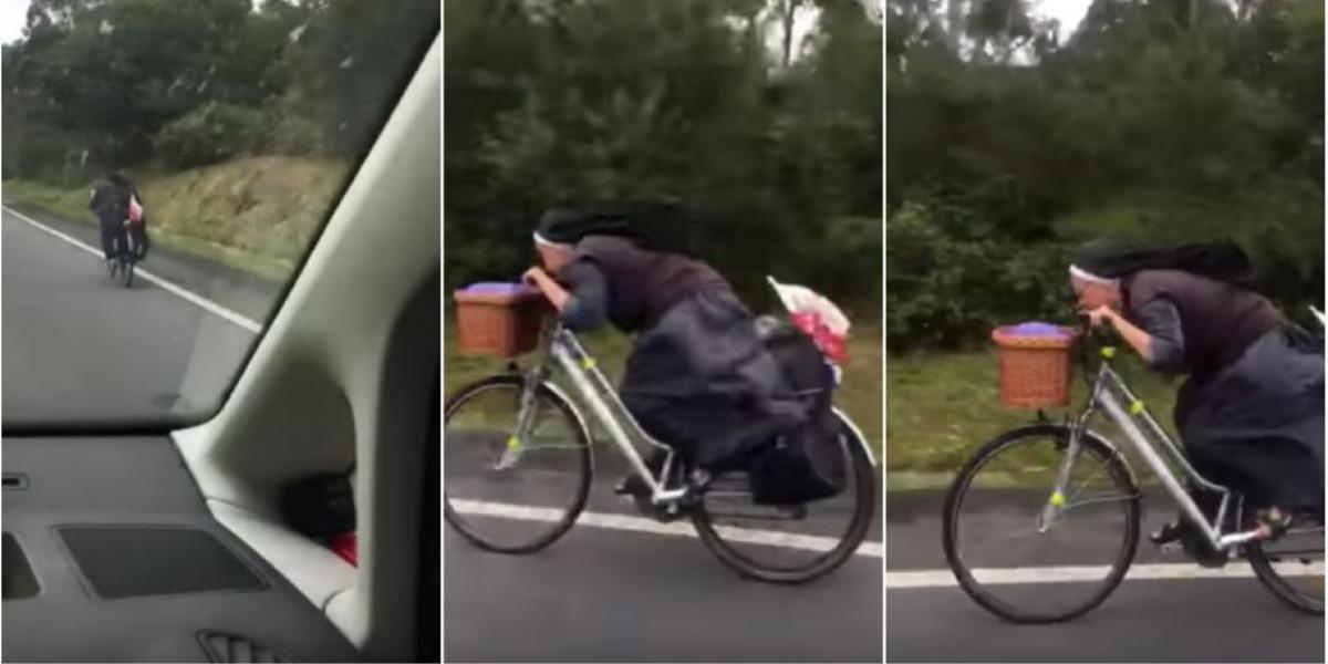¡La monja Froome! Esta religiosa es furor en redes por como maneja en bicicleta