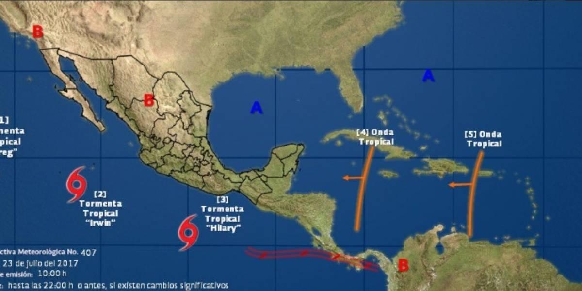 Tormentas tropicales 'Hilary' e 'Irwin' se forman en aguas del Pacífico
