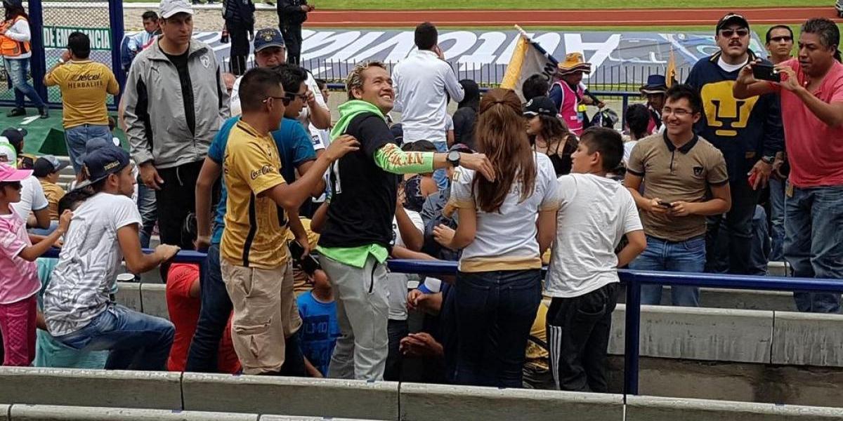 Parejita López acudió a CU a ver a sus Pumas