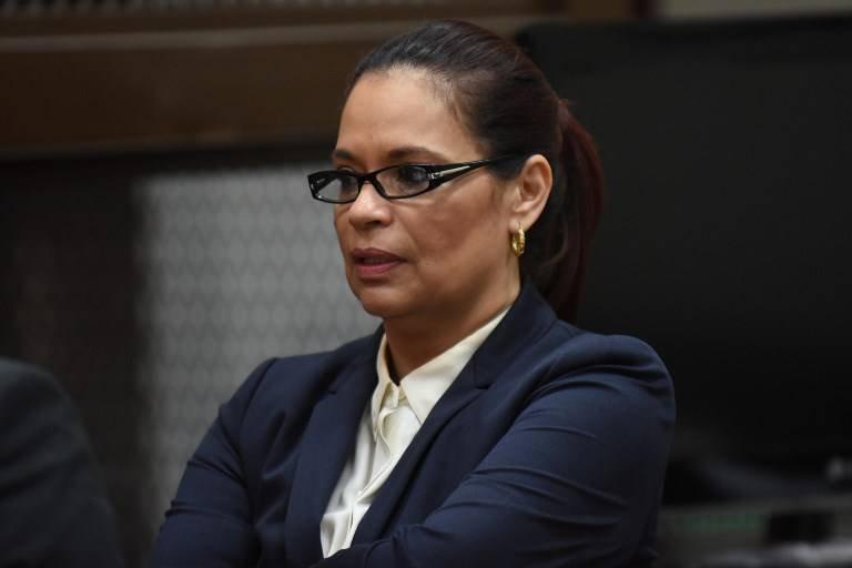 Roxana Baldetti en audiencia de primera declaración, agosto de 2015