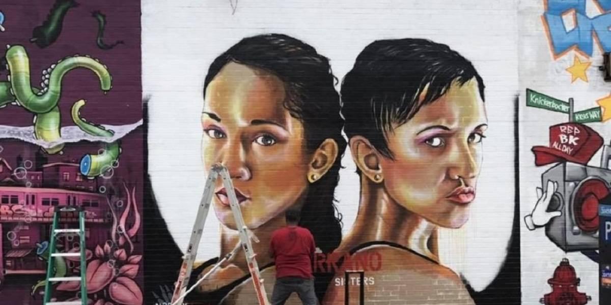 Sorprenden a las hermanas Serrano con mural