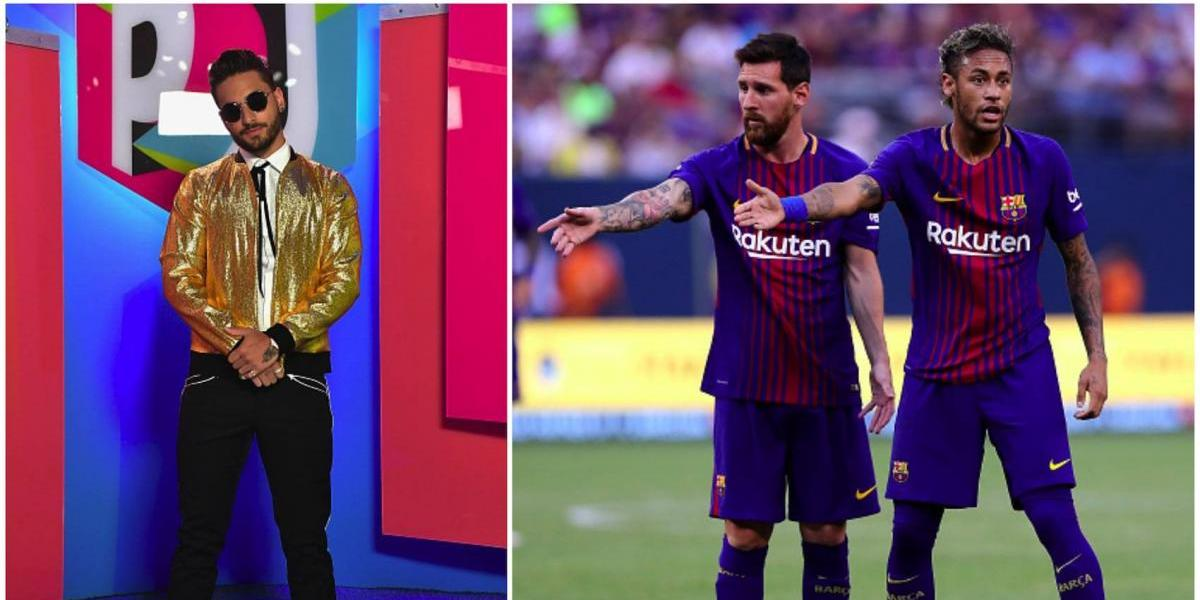 Maluma presume fotos con Messi y Neymar