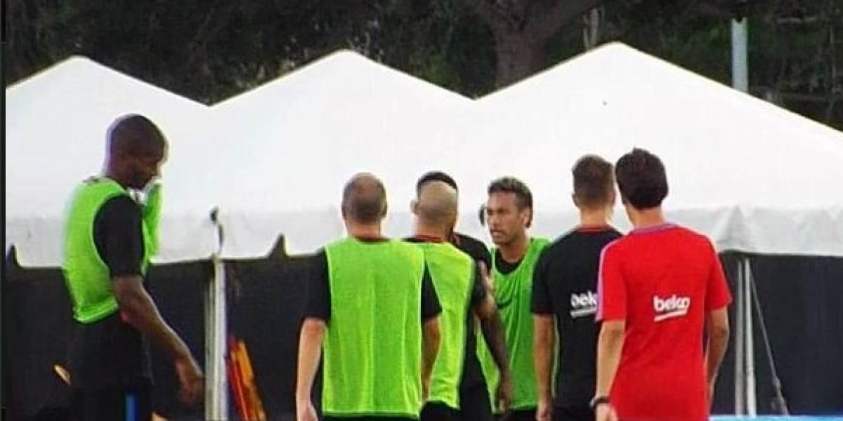 Escándalo: Neymar empuja a nuevo refuerzo del Barcelona y se va del entrenamiento