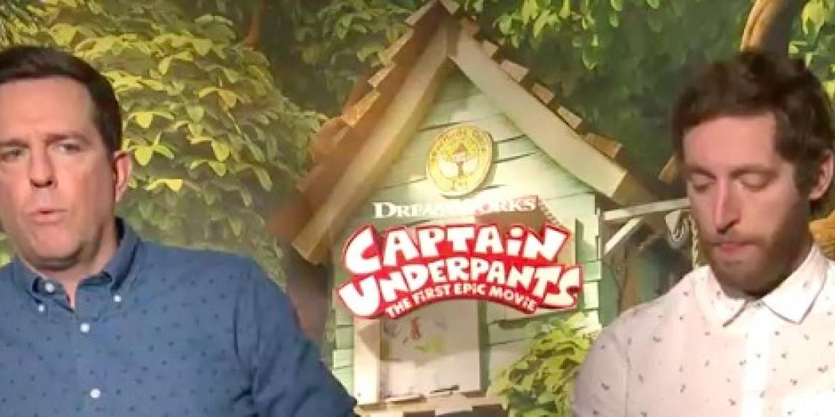 Ed Helms y Thomas Middleditch  improvisan en Captain Underpants