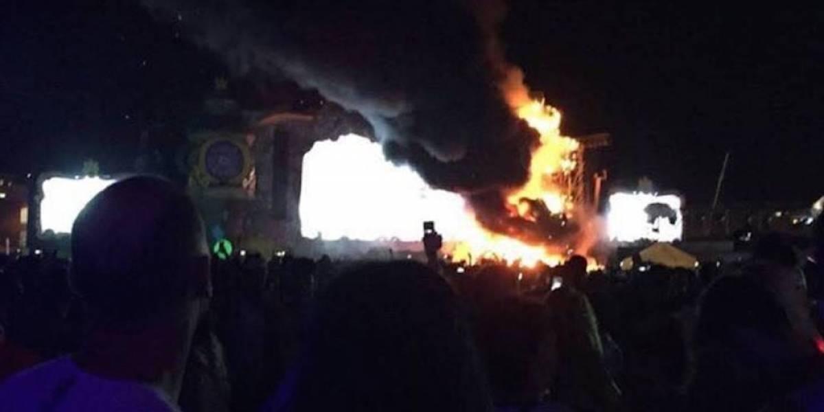 Espectacular incendio obliga a evacuar el Festival Tomorrowland en Barcelona