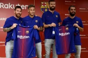 Jugadores del Barcelona durante una presentación