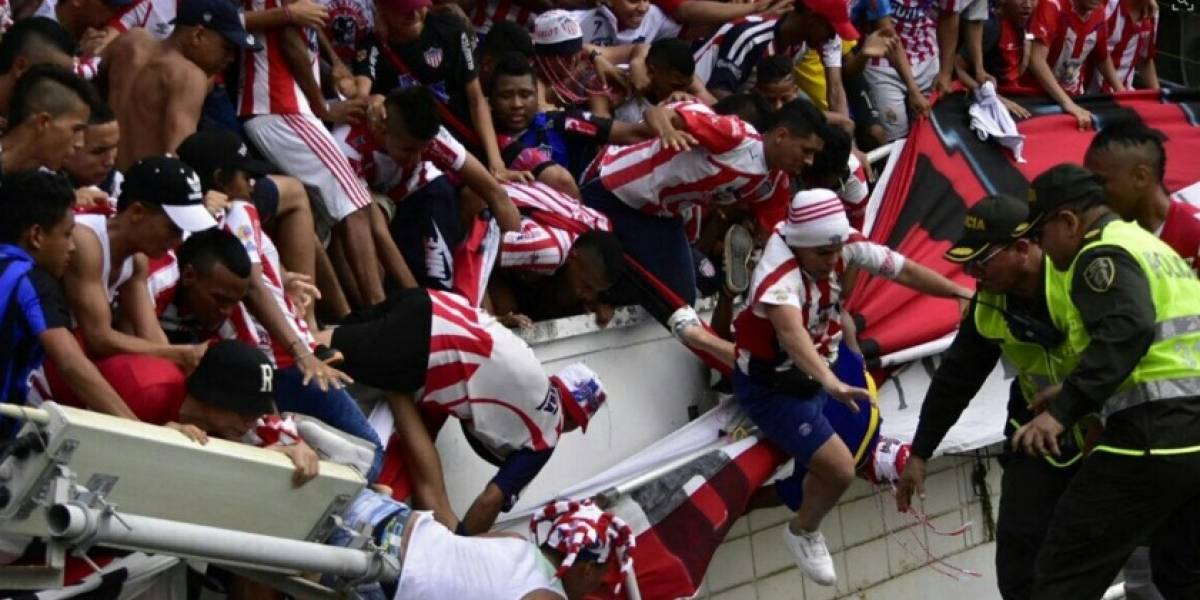 Colapsó una baranda del Estadio Metropolitano en Junior vs Nacional