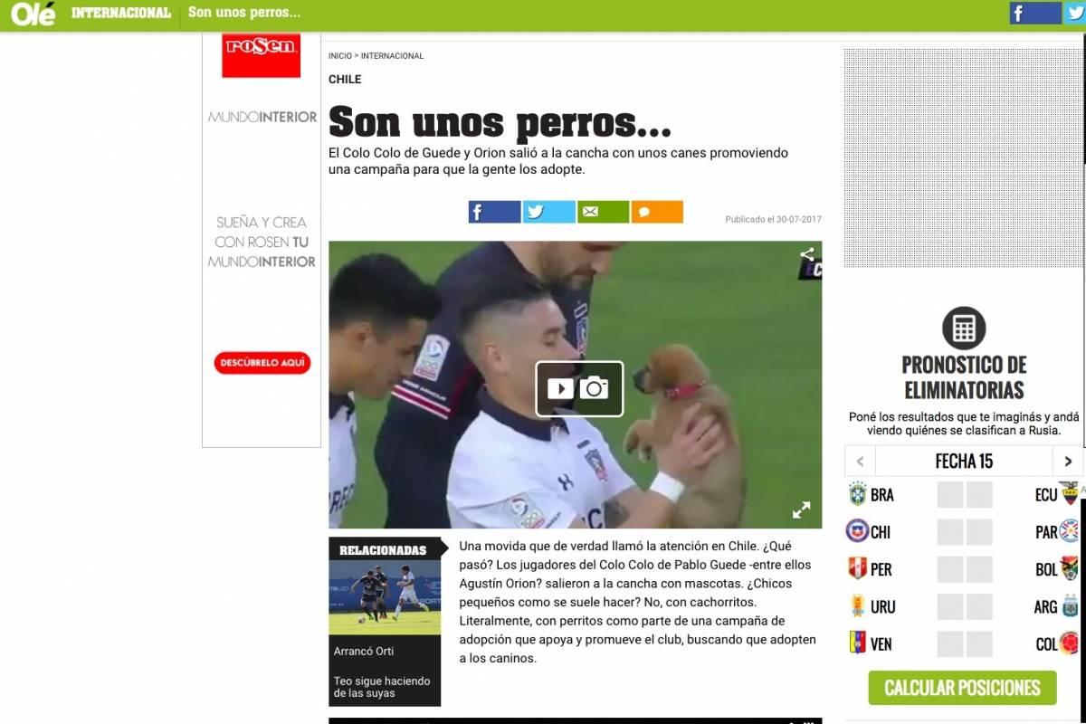 Olé destacó la entrada con perros de Colo Colo / Web