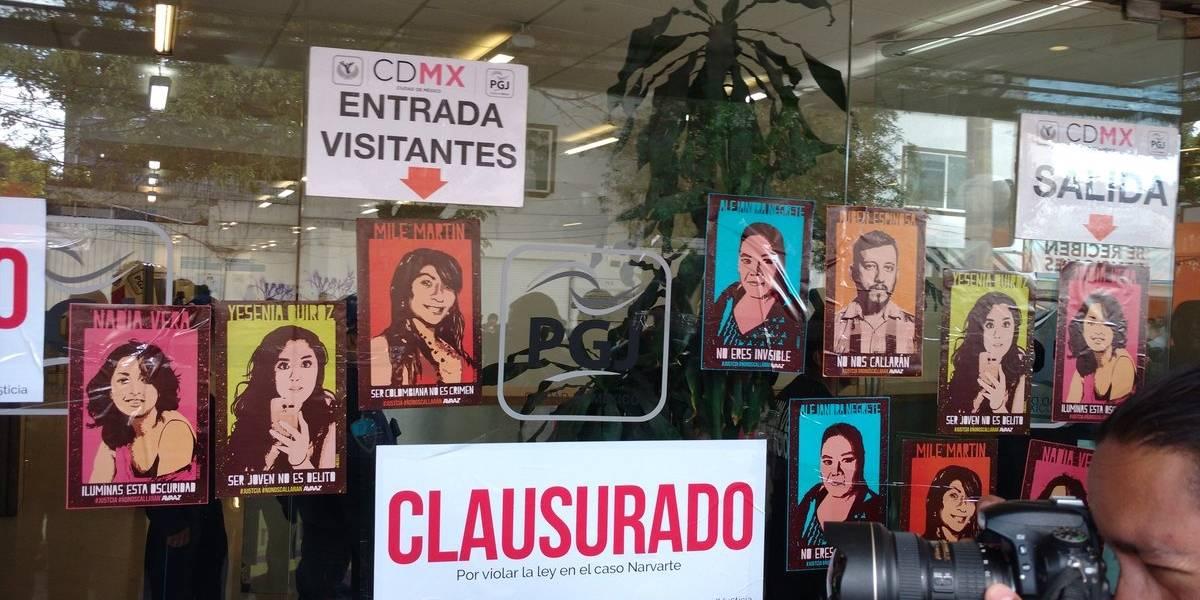 Clausuran simbólicamente la PGJ-CDMX por caso Narvarte