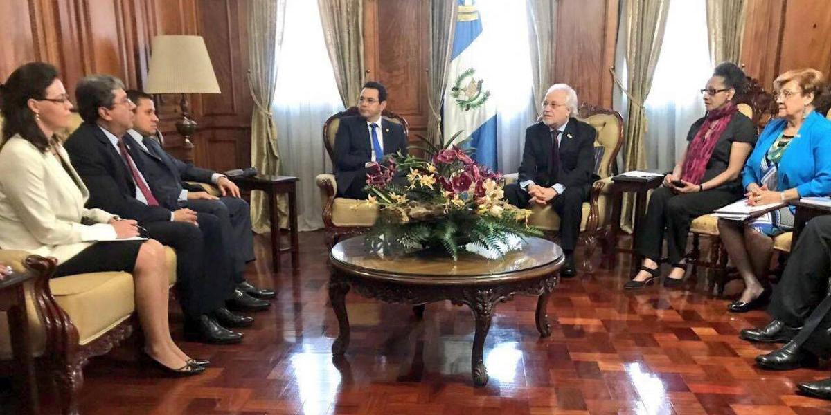 Delegados de la CIDH se reúnen con el presidente Jimmy Morales