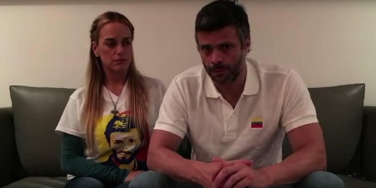 Venezuela: Leopoldo López llama a seguir luchando y anuncia el embarazo de su esposa