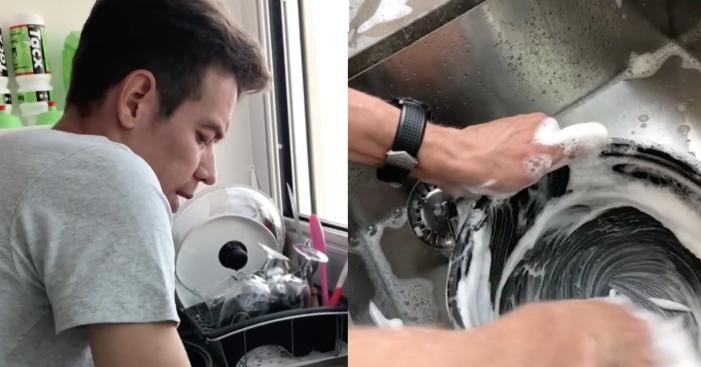 """Video: """"Acá no comen cuento que soy subcampeón del Tour"""": Rigo mientras lava loza"""