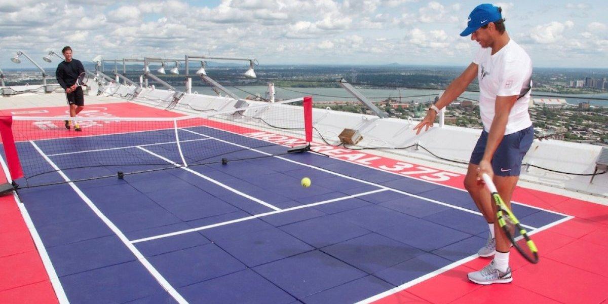 Nadal y Thiem jugaron 'cascarita' en la torre del estadio Olímpico de Montreal