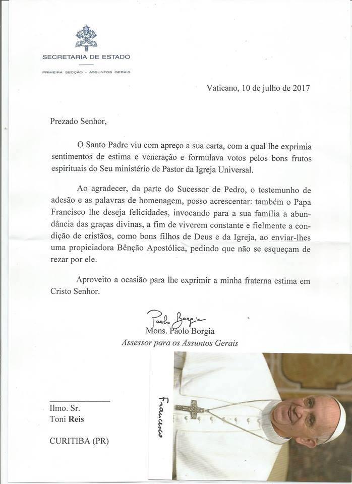 La carta enviada por el Papa Francisco