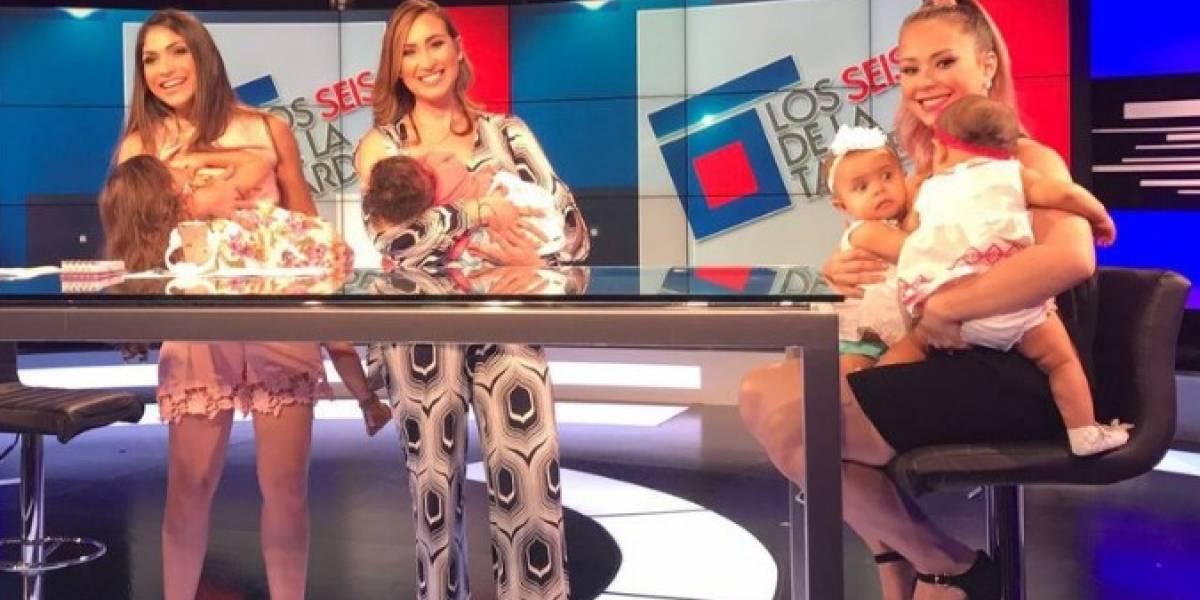 Animadoras de Los 6 de la tarde lactan a sus bebés en vivo