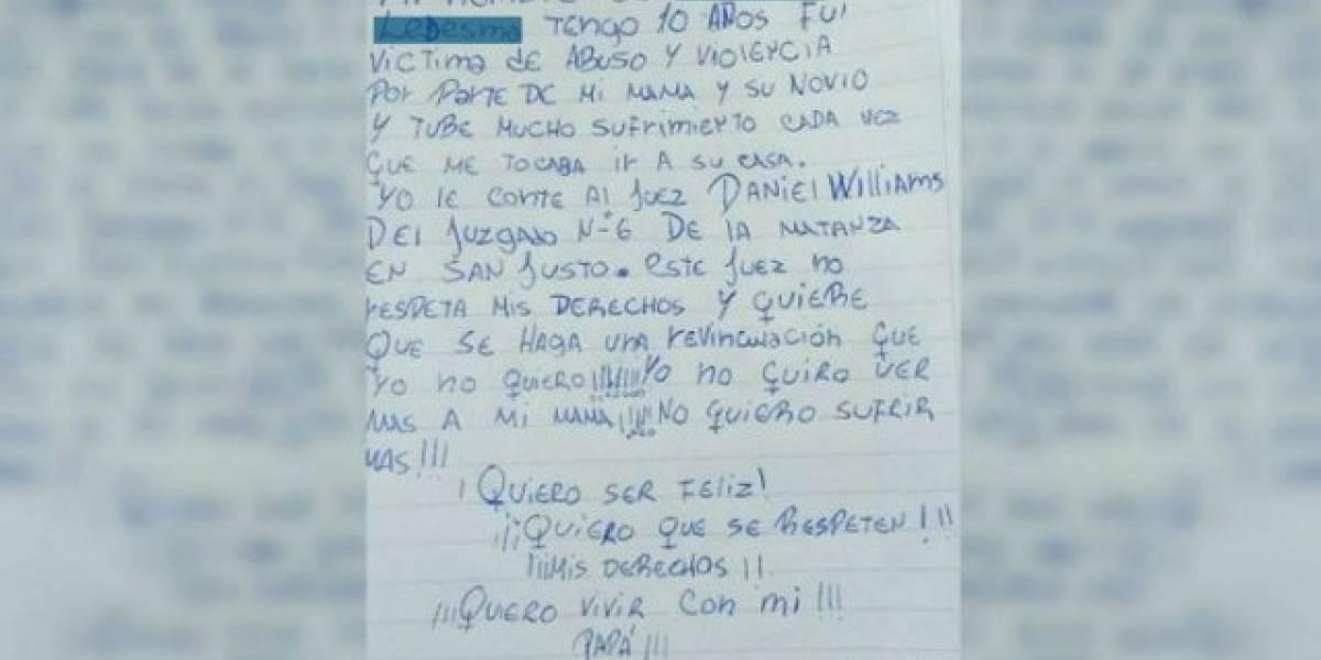 """""""No quiero ver mas a mi mamá"""": niña víctima de abusos impacta a Argentina con su carta"""
