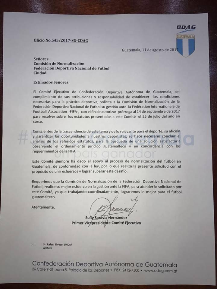 Carta de la CDAG al Comité de Normalización