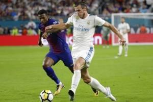 Gareth Bale en un clásico contra el Barsa