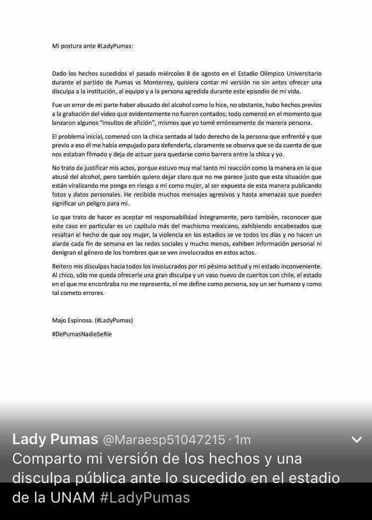 #LadyPumas aclara el incidente e CU y pide disculpas