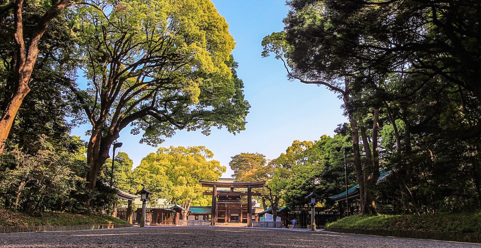 Santuario Meiji y la calle Takeshita-dori. Dreamstime