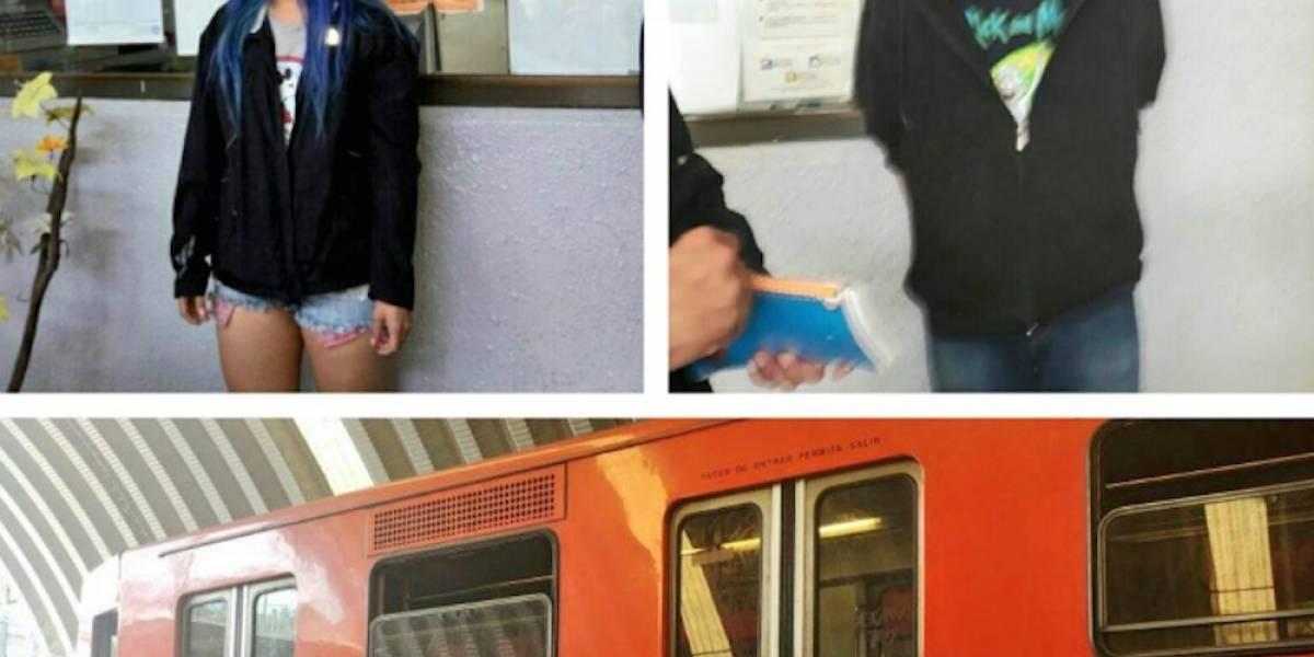 Detienen a dos estadounidenses por grafitear vagón del Metro