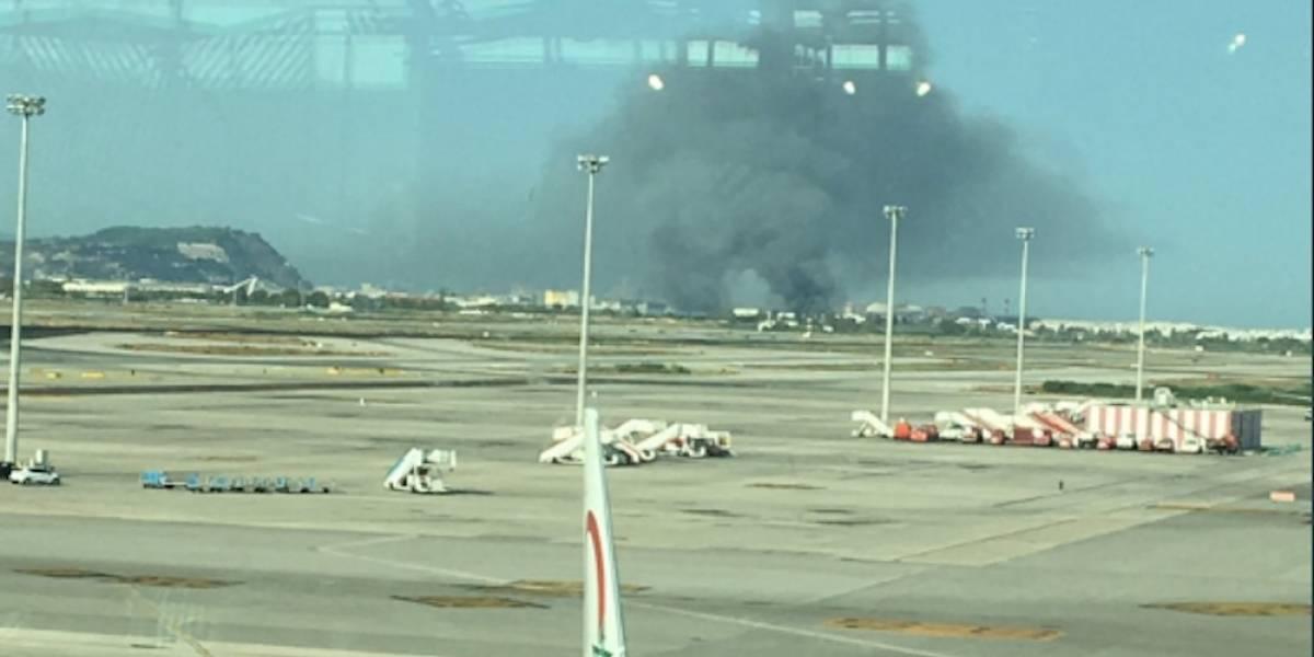 Reportan incendio cerca de el Aeropuerto El Prat-Barcelona