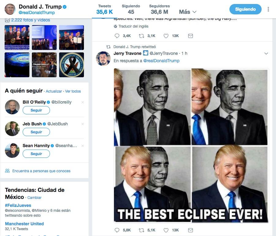 Trump eclipsa a Obama en un meme