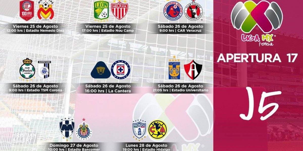 Calendario de la Jornada 5 de la Liga MX Femenil