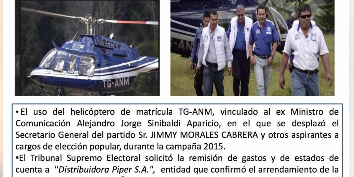 """Fiscalía dice que """"debe"""" investigar viajes de Jimmy Morales en helicóptero de Sinibaldi"""