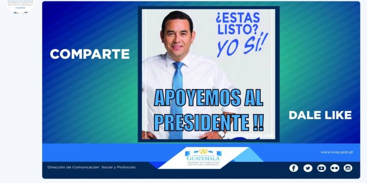 Presidencia publica campaña a favor de Jimmy Morales