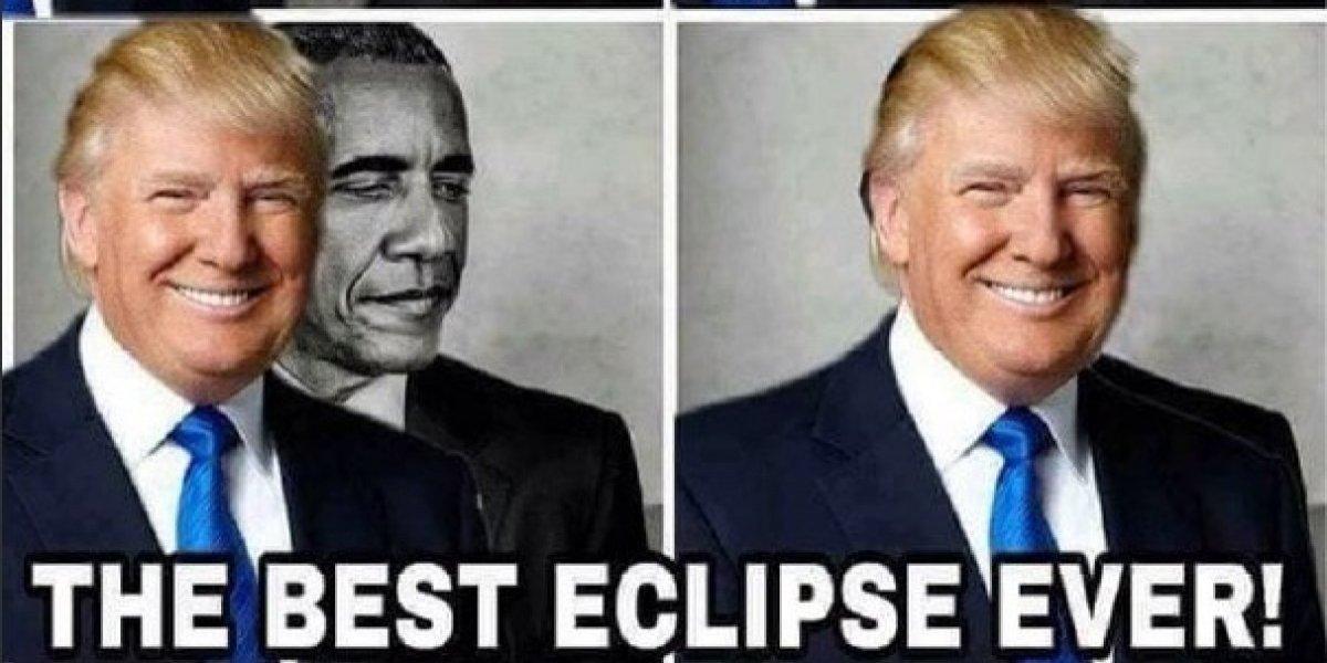 """Trump se burla de Obama en un meme: """"el mejor eclipse de la historia"""""""