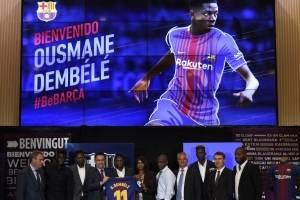 Presentación de Ousmane Dembélé con el Barcelona