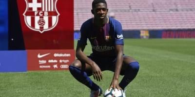 Ousmane Dembélé, en su presentación con el Barcelona