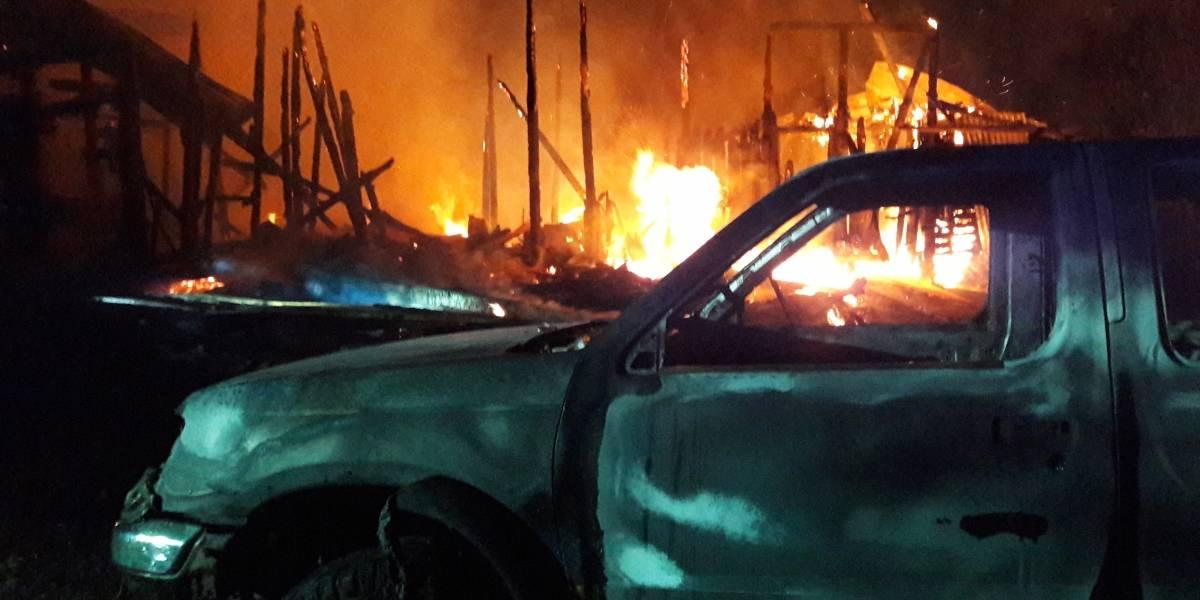 Investigan gran incendio que afectó a 29 camiones forestales en San José de la Mariquina