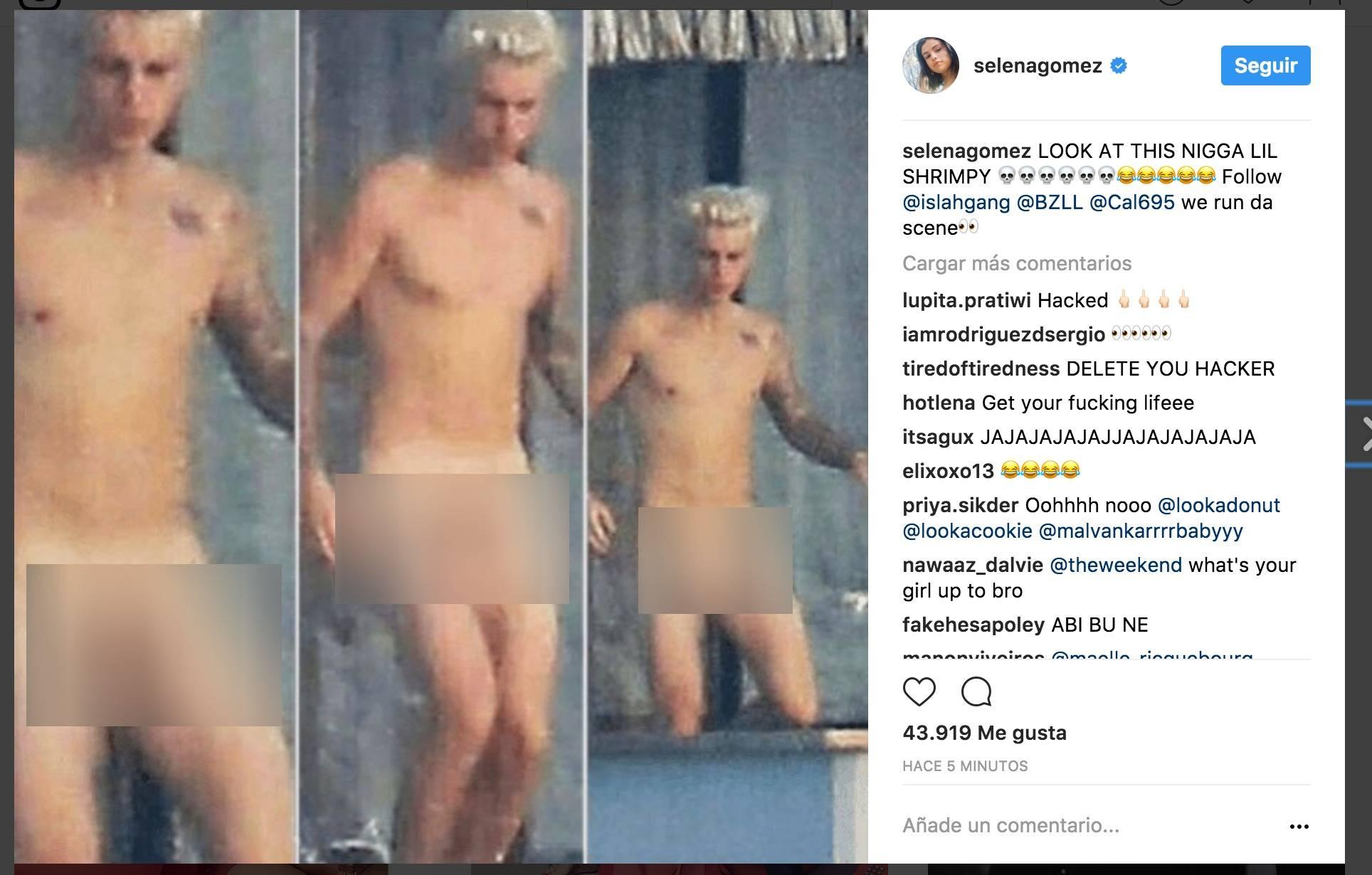 Las fotos desnudo de Justin, en Instagram de Selena Gomez