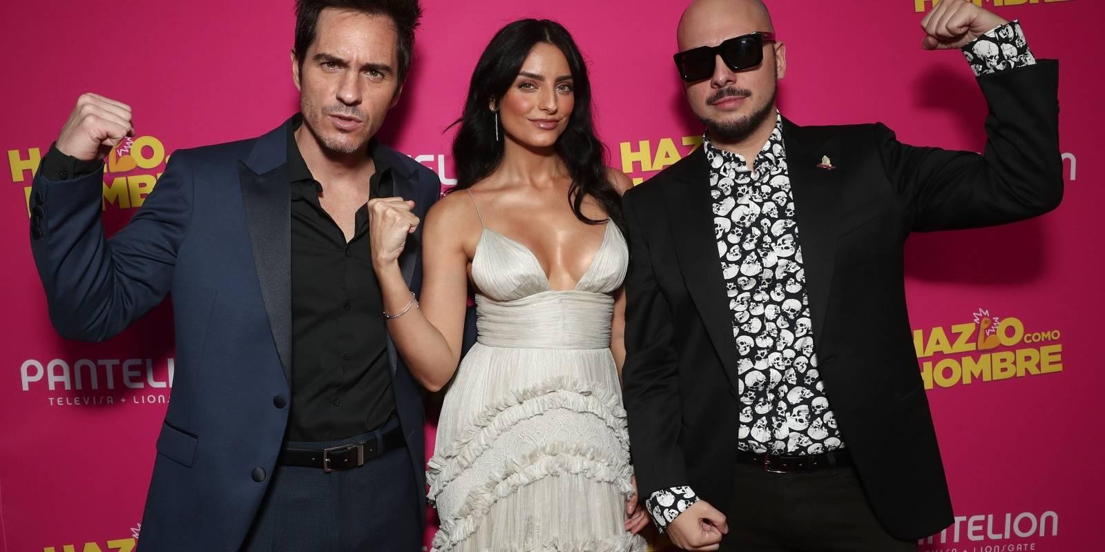 Aislinn Derbéz, Mauricio Ochmann y Nicolás López, director del largometraje. Cortesía