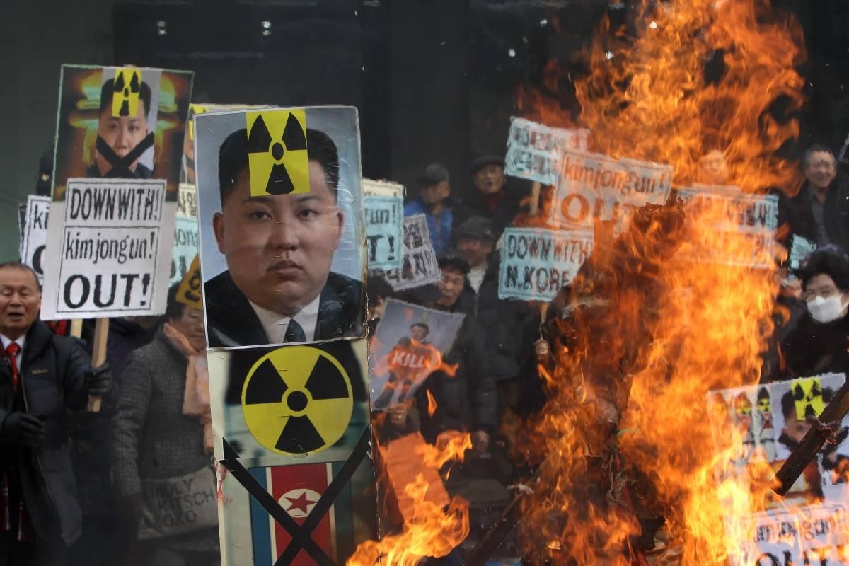 Protestas en Corea del Sur contra el programa nuclear de Corea del Norte.